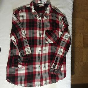 Garage red plaid boyfriend flannel shirt Lg *NWT